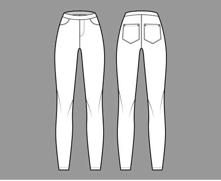 Jeggings technical fashion illustration with normal waist, high rise, full length, angled pockets. Flat Pants bottom trousers apparel template front, back, white color. Women men unisex CAD mockup