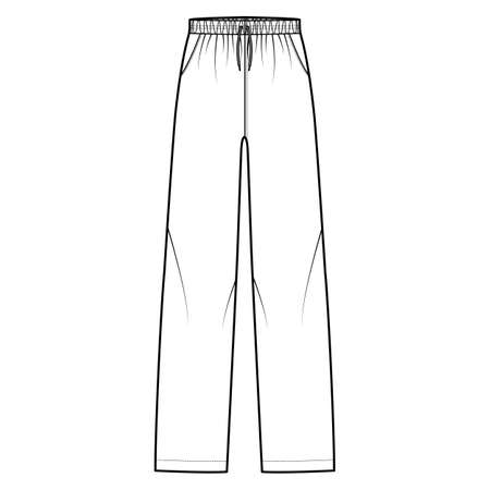 Pajama pants technical fashion illustration with elastic low waist, rise, full length, drawstrings, pockets. Flat knit trousers apparel template front, white color. Women men unisex CAD mockup