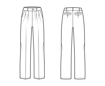 Pants tailored technical fashion illustration with low waist, rise, slant slashed flap pockets, double pleat, belt loops. Flat casual bottom trousers front, back, white color. Women unisex CAD mockup