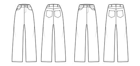 Set of Baggy Jeans Denim pants technical fashion illustration with normal low waist, high rise, 5 pockets, Rivets, belt loops. Flat front, back, white, color style. Women, men, unisex CAD mockup