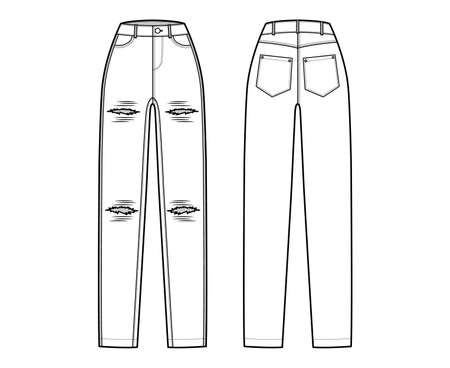 Ripped Jeans distressed Denim pants technical fashion illustration with full length, normal waist, high rise, coin, 5 pockets, Rivets. Flat bottom front, back, white color style. Women, men CAD mockup