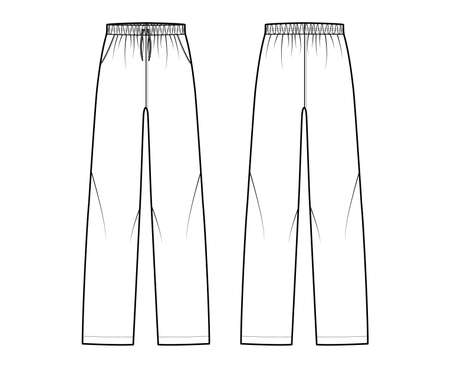 Pajama pants technical fashion illustration with elastic low waist, rise, full length, drawstrings, pockets. Flat knit trousers apparel template front, back, white color. Women men unisex CAD mockup