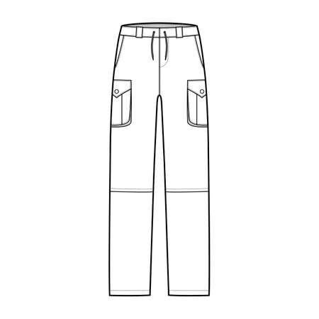 Zip-off convertible pants technical fashion illustration with low waist, high rise, box pleated cargo jetted pockets, belt loops. Flat template front, white, color style. Women, men CAD mockup