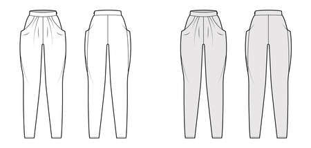 Harem pants technical fashion illustration with normal waist, high rise, slash pockets, draping front, full lengths. Flat bottom apparel template back, white, grey color. Women, men, unisex CAD mockup
