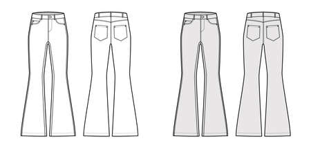 Jeans flared bottom Denim pants technical fashion illustration with full length, low waist, 5 pockets, Rivets. Flat bottom template front back, white, grey color style. Women, men, unisex CAD mockup
