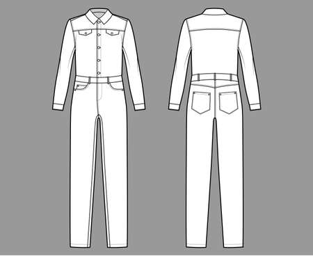 Denim overall jumpsuit Dungaree technical fashion illustration with full length, button closure, long sleeves, normal waist, pockets. Flat front back, white color style. Women, men unisex CAD mockup Vecteurs