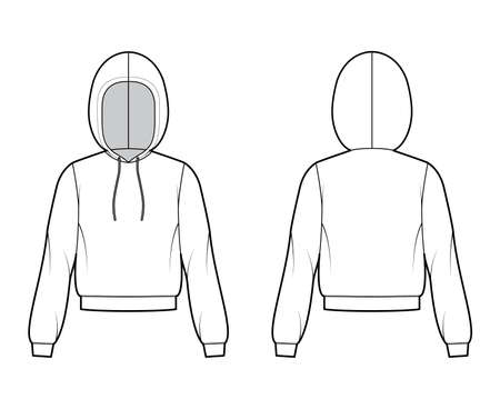 Hoody sweatshirt technical fashion illustration with long sleeves, relax body, banded hem, drawstring. Flat small jacket apparel template front, back, white color style. Women, men, unisex CAD mockup