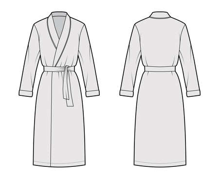Bathrobe Dressing gown technical fashion illustration with wrap opening, knee length, oversized, tie, long sleeves. Flat garment apparel front back, grey color style. Women, men unisex CAD mockup