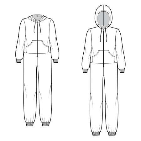 Set of overall jumpsuit sleepwear technical fashion illustration with full length, oversized, hood, zipper closure, kangaroo pouch. Flat Dungaree front, white color. Women men unisex CAD mockup Ilustracje wektorowe