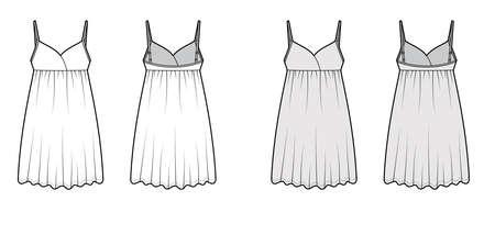 Babydoll dress Sleepwear Pajama technical fashion illustration with mini length, oversized, shoulder straps, trapeze silhouette. Flat front back, white, grey color style. Women, men unisex CAD mockup