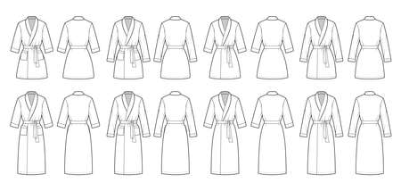 Set of Bathrobes Dressing gown technical fashion illustration with wrap opening, knee mini length, oversized, tie, pocket, elbow long sleeves. Flat front back white color. Women men unisex CAD mockup