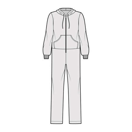 Onesie overall jumpsuit sleepwear technical fashion illustration with full length, oversized, hood, zipper closure, kangaroo pouch. Flat Dungaree front, grey color style. Women, men unisex CAD mockup
