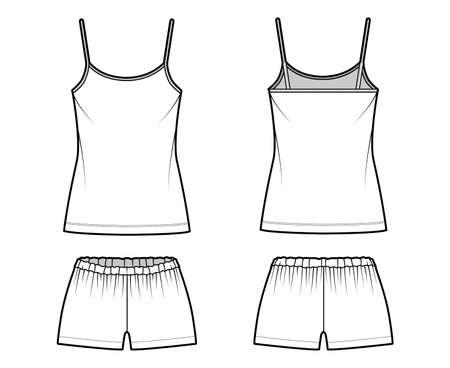 Camisole Pajama short Sleepwear technical fashion illustration with scoop neck cami, mini length, oversized, low elastic waist. Flat apparel front back, white color style. Women, men unisex CAD mockup