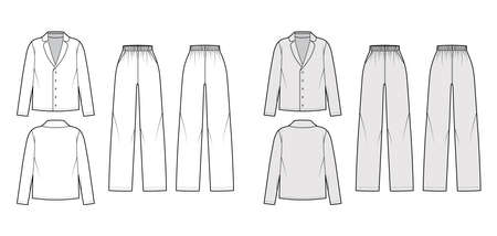 Set of Sleepwear Pajamas shirt, pants technical fashion illustration with full length, normal waist, oversized, pockets, long sleeves. Flat front back, white, grey color. Women, men unisex CAD mockup