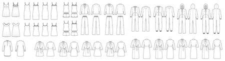 Set of Sleepwear Pajamas overall dresses, pants, bathrobe, chemise, nightshirt technical fashion illustration with full knee mini length. Flat front back, white color. Women, men unisex CAD mockup Vector Illustration