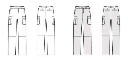 Zip-off convertible pants technical fashion illustration with low waist, high rise, box pleated cargo jetted pockets, belt loops. Flat template front back, white grey color style. Women men CAD mockup