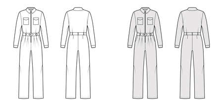 Siren suit overall jumpsuit technical fashion illustration with full length, belt, zipper closure, pockets, long sleeves. Flat Dungaree front back, white, grey color style. Women men unisex CAD mockup