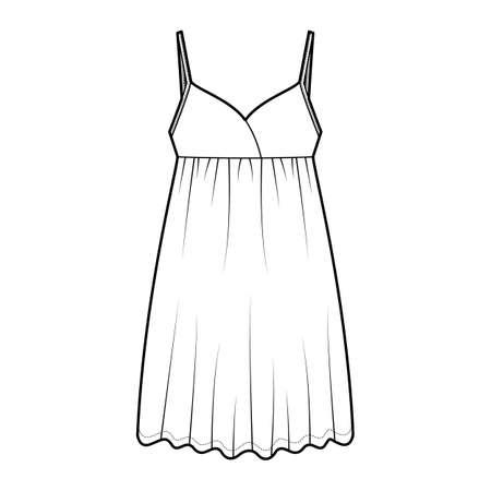 Babydoll dress Sleepwear Pajama technical fashion illustration with mini length, oversized, adjustable shoulder straps, trapeze silhouette. Flat front, white color style. Women, men unisex CAD mockup