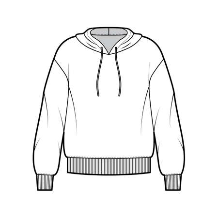 Hoody sweatshirt technical fashion illustration with long sleeves, oversized body, banded hem, drawstring. Flat large apparel template front, white color style. Women, men, unisex CAD mockup