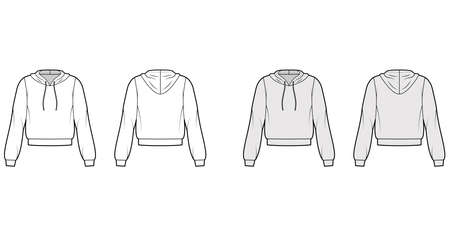 Hoody sweatshirt technical fashion illustration with elbow sleeves, relax body, banded hem, cuff, drawstring. Flat small apparel template front, back, white, grey color style. Women, men CAD mockup