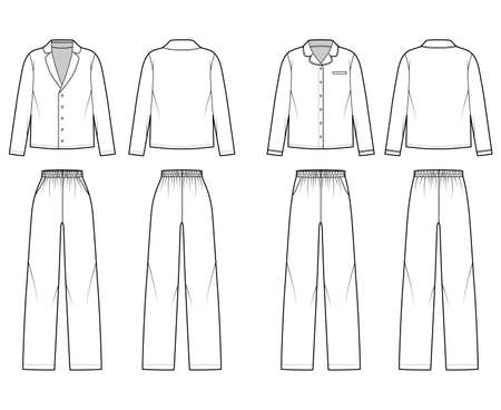 Set of Sleepwear Pajamas shirt, pants technical fashion illustration with full length, normal low waist, oversized, pockets, long sleeves. Flat front back, white color style. Women, men CAD mockup