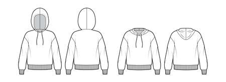 Set of Hoody sweatshirt technical fashion illustration with long sleeves, oversized body, knit rib cuff, banded hem. Flat apparel template front, back, white color. Women, men, unisex CAD mockup