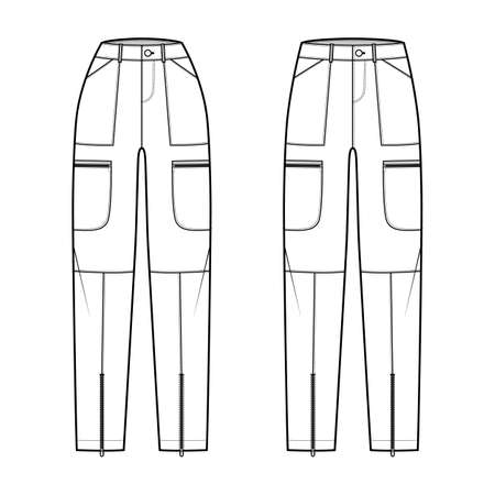 Set of Parachute pants technical fashion illustration with normal low waist, high rise, pockets, belt loops, full lengths. Flat bottom template front, white color style. Women, men, unisex CAD mockup