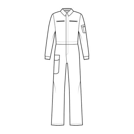 Boilersuit coverall Dungaree jumpsuit technical fashion illustration with full length, normal waist, high rise, pockets, long sleeves. Flat front, white color style. Women, men unisex CAD mockup