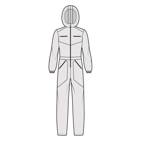 Ski jumpsuit overall jumpsuit technical fashion illustration with full length, normal waist, hood, zipper closure, high rise, pockets. Flat Dungaree front grey color style. Women men unisex CAD mockup