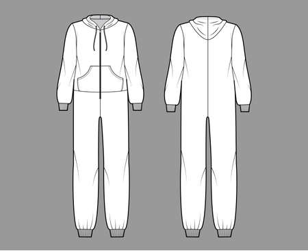 Onesie overall jumpsuit sleepwear technical fashion illustration with full length, oversized, hood, zipper closure, kangaroo pouch. Flat Dungaree front back, white color. Women, men unisex CAD mockup Vettoriali