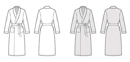 Bathrobe Dressing gown technical fashion illustration with wrap opening, knee length, oversized, tie, pocket, long sleeves. Flat garment front back, white, grey color style. Women, men unisex CAD