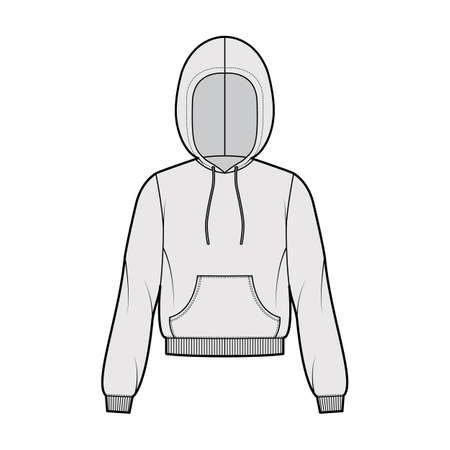 Hoody sweatshirt technical fashion illustration with long sleeves, relax body, kangaroo pouch, knit rib cuff, banded hem. Flat apparel template front, grey color. Women, men, unisex CAD mockup