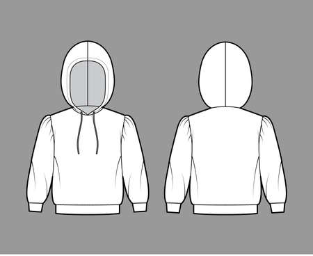 Hoody sweatshirt technical fashion illustration with elbow sleeves, relax body, banded hem, drawstring. Flat small apparel template front, back, white color style. Women, men, unisex CAD mockup