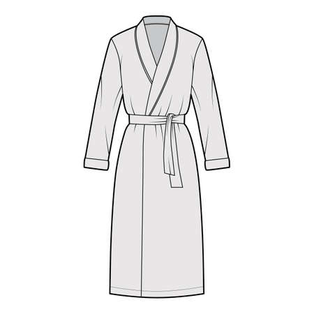 Bathrobe Dressing gown technical fashion illustration with wrap opening, knee length, oversized, tie, long sleeves. Flat garment apparel front, grey color style. Women, men unisex CAD mockup