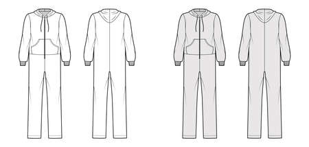 overall jumpsuit sleepwear technical fashion illustration with full length, hood, zipper closure, kangaroo pouch. Flat Dungaree front back, white, grey color style. Women, men unisex CAD mockup