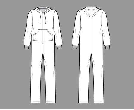 Onesie overall jumpsuit sleepwear technical fashion illustration with full length, oversized, hood, zipper closure, kangaroo pouch. Flat Dungaree front back, white color. Women, men unisex CAD mockup