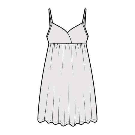 Babydoll dress Sleepwear Pajama technical fashion illustration with mini length, oversized, adjustable shoulder straps, trapeze silhouette. Flat front, grey color style. Women, men unisex CAD mockup
