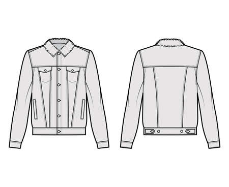 Sherpa lined denim jacket technical fashion illustration with oversized body, flap welt pockets, button closure, long sleeves. Flat apparel front, back, grey color style. Women, men unisex CAD mockup