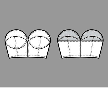 Denim bustier top technical fashion illustration with zip-up closure, cups strapless , slim fit, crop length. Flat bra template front, back, white color style. Women, men, unisex CAD mockup