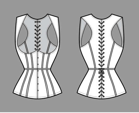 Corset gilet vest technical fashion illustration with sleeveless, Cord lacing back closure, slim fit, Whales. Flat apparel template front, white color style. Women, men, unisex top CAD mockup