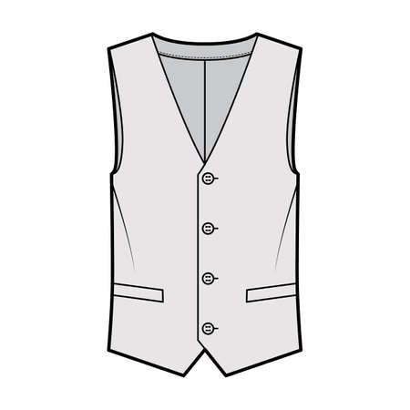Lapelled vest waistcoat technical fashion illustration with sleeveless, notched shawl collar, button-up closure, pockets. Flat template front, grey color style. Women, men, unisex top CAD mockup Vektorgrafik