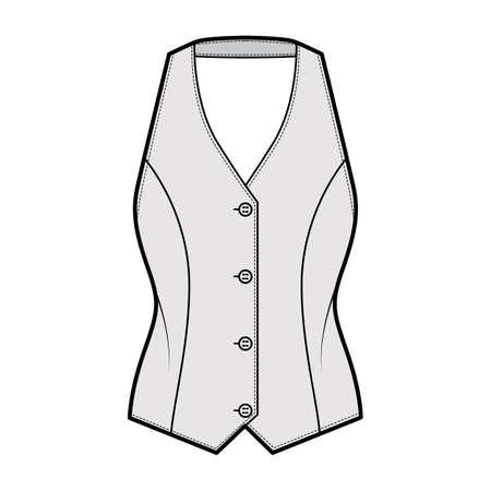 Halter vest pique waistcoat technical fashion illustration with backless, V-neckline, button-up closure, slim fit. Flat apparel template front, grey color style. Women, men, unisex top CAD mockup