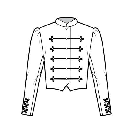 Majorette jacket technical fashion illustration with crop length, long leg o Mutton sleeves, stand collar, button frog closure. Flat blazer template front, white color style. Women, men CAD mockup Ilustracje wektorowe
