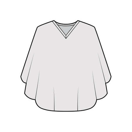 Poncho coat technical fashion illustration with V-neck collar, oversized trapeze body, fingertip length. Flat jacket template front, grey color style. Women, men, unisex top CAD mockup