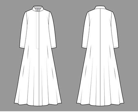 Opera coat technical fashion illustration with long sleeves, stand collar, oversized trapeze body, floor maxi length. Flat jacket template front, back, white color style. Women, men, unisex CAD mockup