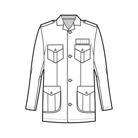 Safari jacket technical fashion illustration with oversized, open collar, long sleeve, flap pockets, button fastening, epaulettes. Flat coat template front, white color style. Women men top CAD mockup