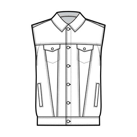 Standard denim vest technical fashion illustration with oversized body, flap welt pockets, button closure, classic collar, sleeveless. Flat apparel front white color style. Women men unisex CAD mockup