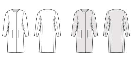Straight coat technical fashion illustration with long sleeves, oversized body, knee length, hide closure. Flat jacket template front, back, white, grey color style. Women, men, unisex top CAD mockup