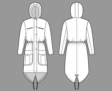 Parka coat technical fashion illustration with faux fur hood, long sleeves, fitted body, knee length, flap pockets. Flat jacket template front, back, white color style. Women men unisex top CAD mockup