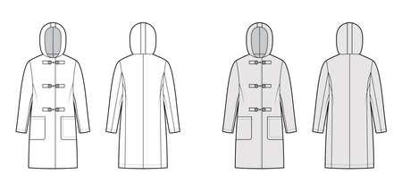 Clasp coat technical fashion illustration with long sleeves, hood, oversized body, patch pockets, knee length. Flat jacket template front, back, white, grey color style. Women, men, unisex CAD mockup Vektorgrafik